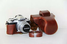 PU Leather Camera Bag Case for Olympus OM-D E-M10 Mark II 14-42mm Lens Coffee