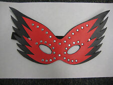 New sexy Red / Black leather mask w/Silver studs kinky FREE Shipping Halloween