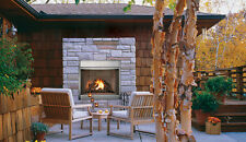 """Astria Polaris 42"""" Vent Free Outdoor Gas Fireplace Stainless Steel White Stacked"""