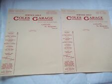 2 Vintage Letter headings of COLES GARAGE,Catcott, Nr Bridgwater, Somerset