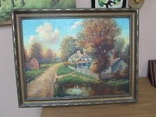 Antique W.J.M. Hugh 1941 Original Oil on Board Painting Farmhouse Landscape