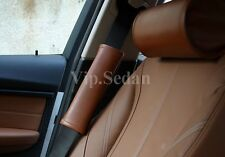 2PCS NEW BROWN GENUINE LEATHER LUXURY CAR SEAT BELT SHOULDER PADS THICK CUSHIONS