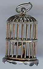 VINTAGE STERLING SILVER 3D BIRDCAGE WITH PERCH CHARM