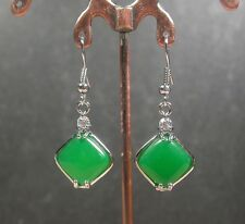 Gold Plate CHINESE Green JADE Earring Earrings Dangle Rectangle 247740