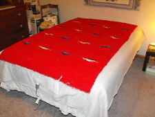 """Vintage Mexican Zapotec Red Wool Blanket Birds Blue Gray Black 46"""" x 75""""  Twin"""