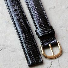 Hadley-Roma Genuine Teju Lizard black 16mm vintage watch strap w/ light padding