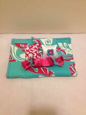 TURQUOISE W/PINK SWIRLS BEDDING SET FOR BARBIE, MONSTER HIGH, OR BRATZ DOLLS