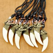 6pcs bronze dragon totem tooth pendant necklace W253
