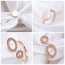 RINGS SET OF 2 RHINESTONE ROSE GOLD PLATED AND FLAT CIRCLE SPARKLING FASHION