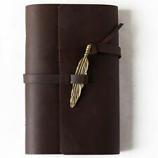 Ancicraft Leather Journal Refillable with Feather 3.75 X 6.75 Inch A6 Blank Gift