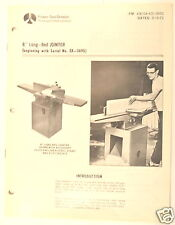 "Rockwell 8"" LONG-BED JOINTER Manual BEGINNING WITH SERIAL  EX-3690) + PARTS LIST"