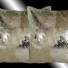 """2X SHINNY BEIGE THICK VELVET SILVER DAMASK THROW PILLOW CASES CUSHION COVERS 17"""""""