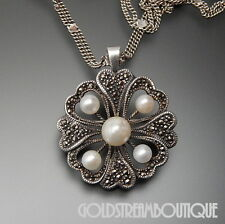 925 SILVER FAUX & GENUINE PEARL MARCASITE FLOWER BROOCH PIN PENDANT NECKLACE 24""