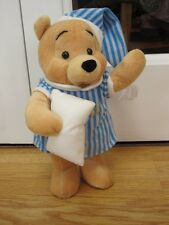 """11"""" STANDING WINNIE THE POOH IN NIGHTSHIRT AND CAP PLUSH SOFT TOY HOLDING PILLOW"""