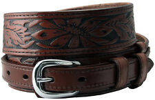 "Carson Western Tooled Genuine Leather Durable Ranger Belt 1-1/2"" to 3/4"" Taper"