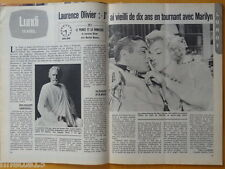 LAURENCE OLIVIER & MARILYN MONROE Coupure de presse 2 pages 1980 French clipping