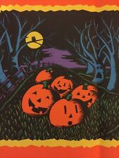 Vintage CREPE Paper  Halloween Spooky Owls,tree Faces,Pumpkins Tablecloth NewX2