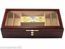 Hamilton 150 Cigar Acrylic Top Humidor Large Hygrometer Humidifier Lock NEW
