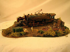 Steam Engine Wrecking / Junk Yard Diorama - custom weathered - lot 6 - HO scale