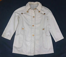 MONTGOMERY WARD vtg womens cream white canvas spring coat jacket 60s 70s gold M