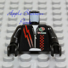 NEW Lego Octan Jacket BLACK RED MINIFIG TORSO - Race Car Driver Zipper Jump Suit
