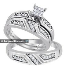 Diamond 3-Ring Wedding Band Set .33 ct Bride Groom 925 bridal matching micropave