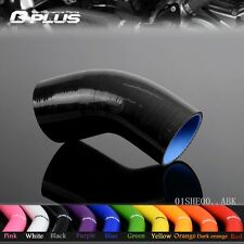 """2.5"""" TO 2.5"""" INCH 45°Degree Hose 64MM Turbo Silicone Elbow Coupler Pipe BLACK"""