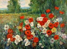 "Canvas Print Poppy Field Oil painting Picture Printed on canvas 16""X20"" P172"