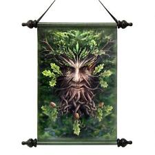 Everlasting Legendary Ancient Greenman Magical Scroll Tapestry w/ Rods & Finials
