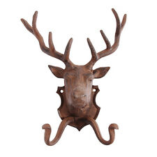 Vintage Shabby Chic Cast Iron Wall Mounted Stag Head Deer Coat Hook - Great Gift