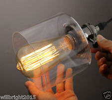 New Clear Glass Retro Cafe Chandelier Ceiling Edison Pendant Lamp Shade fitting