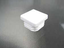 "4 - 1"" White Square Tube Plastic Hole Plug 1 Inch Pipe End Cap 1x1 Chair Glide"