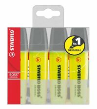 STABILO BOSS ORIGINAL YELLOW HIGHLIGHTER PENS MARKERS WALLET OF 4