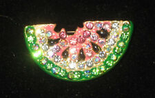 WATERMELON Pin Brooch Crystals NEW Fruit Slice Pink Green White Seeds