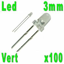 100x Led 3mm Vertes 8000mcd
