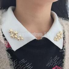 Pair Boho Victoria Alloy 7 Star Brooch Collar Pin Wedding Xmas Gift Gold