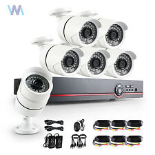UK 8CH 1080p DVR 6X3500TVL CCTV Home Surveillance Camera System IR Cut Night