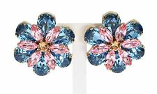 NWT DOLCE & GABBANA Earring Blue Pink Crystal Gold Brass Floral Clip On Runway