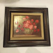 RED FLOWERS IN VASE PAINTING ON CANVAS, SIGNED MADE IN MEXICO