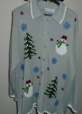 Ugly Christmas Sweater Plus Size 2X (22W/24W)  Winter Theme Cardigan Sweater