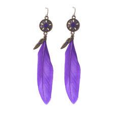 Vintage Women Peacock Feather Earrings Dangle Eardrop Hook Jewelry