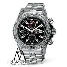 Mens Breitling Super Avenger A13370 Black Dial Watch Diamond Bezel, Case, Lugs