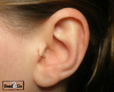 2 x Gold Tragus Ring Cuffs, Cartilage Fake Piercing, Fake Small Pierce Ring