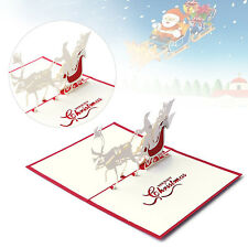 3D Pop Up Holiday Greeting Cards Santa's Sleigh Deer Christmas Thanksgiving Gift