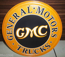 "GMC TRUCKS/ GENERAL MOTORS , ROUND 12"" METAL WALL SIGN,USA, GARAGE/SHED/MAN CAVE"