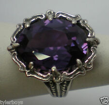 12ct purple raspberry alexandrite antique 925 sterling silver ring size 7 USA