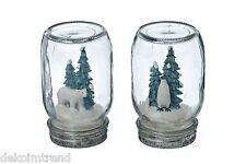 Glas Dekoglas Eisbär Pinguin Weihnachten Winter Kunstschnee Deko Kunstharz Set