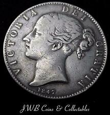 1847 Queen Victoria Young Head Silver Crown Coin Great Britain - Ref; t/m