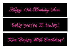 Personalise sash for 18th, 21st, 30th, 40th, 50th or any birthday or Hen party