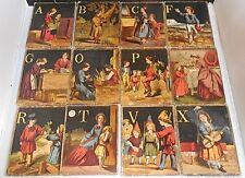 16 Antique Victorian c1880s ChromolithographThick Cardboard Alphabet Cards